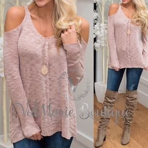 Blush cold shoulder sweater
